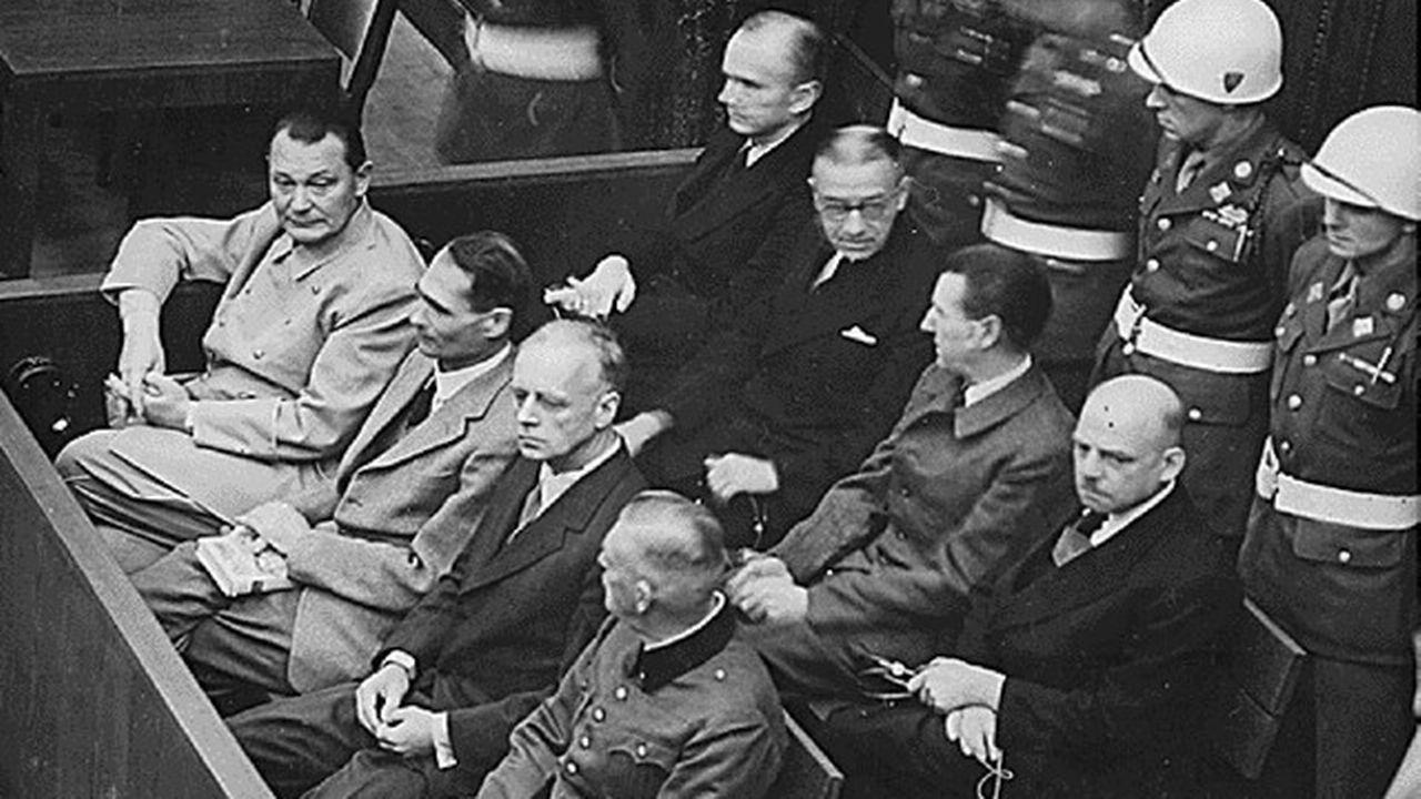 Hermann Göring, Rudolf Hess, Joachim von Ribbentrop et Wilhelm Keitel à Nuremberg, en 1946.  [Reuters]