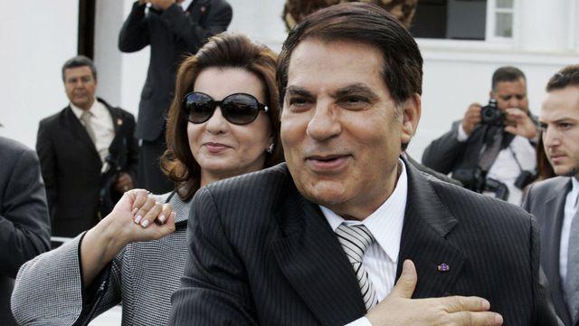 Le président tunisien Zine El Abidine Ben Ali et sa femme Leila. [Alfred de Montesquiou - Keystone]