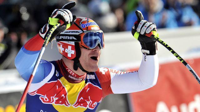 Didier Cuche après la descente de Kitzbühel. [Kerstin Joensson - Keystone]