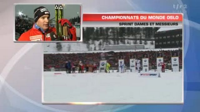 Ski nordique / Mondiaux d'Oslo: Dario Cologna au micro de John Nicolet après sa 1/2 finale