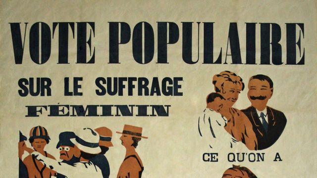 L'une des affiches du vote populaire sur le suffrage féminin, en 1919.  [Neuchâtel. Borel frères, 1919. Bibliothèque de la Ville de La Chaux-de-Fonds. Département audiovisuel (DAV). Reproduction.  - RTS]
