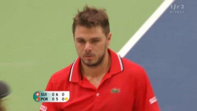 Tennis / Coupe Davis (Suisse-Portugal): Wawrinka remporte la 1er manche 7-5