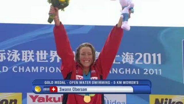 L'interview de la nageuse Swann Oberson, championne du monde des 5km en eau libre à Shanghai (par téléphone).