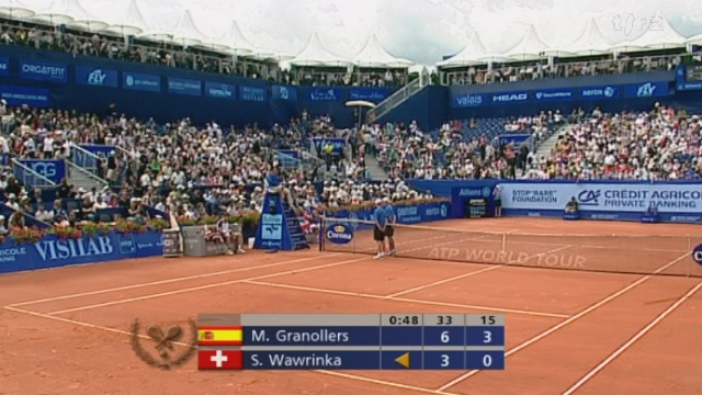 Tennis / Internationaux de Suisse de Gstaad (1/4 de finale): Marcel Granollers/ESP - Stanislas Wawrinka/SUI. 2e manche: l'Espagnol fait le break et le confirme pour mener 3-0. Les affaires se compliquent pour le Suisse