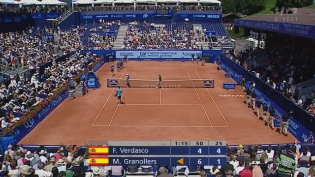 Tennis / Internationaux de Suisse à Gstaad (finale): Verdasco (ESP) – Granollers (ESP). 2e manche: Verdasco réagit. Il réussit quelques points magnifiques pour mener 4-1
