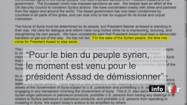 Syrie: l'Europe et les Etats-Unis demandent ouvertement la démission du président syrien Bachar Al-Assad