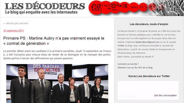 """Le blog """"Les décodeurs"""", animé par Samuel Laurent, journaliste au Monde.fr."""