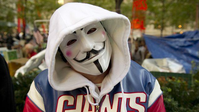 Un membre d'Anonymous à New York. [Don Emmert - AFP]