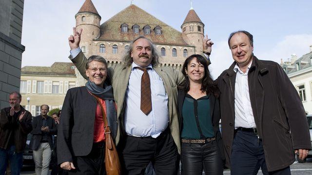 Béatrice Métraux (Les Verts), Géraldine Savary (PS), Luc Recordon (Les Verts) et Pierre-Yves Maillard (PS). [Jean-Christophe Bott - Keystone]