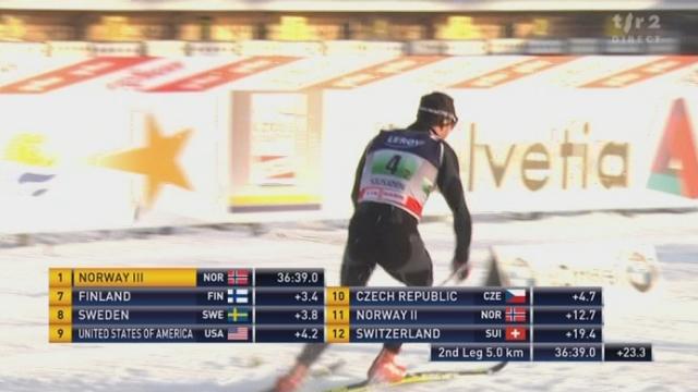 Ski nordique / Coupe du Monde à Sjosjön (NOR): 2e relais. Dario Cologna ramène la Suisse au 7e rang, de 46'' à 14''
