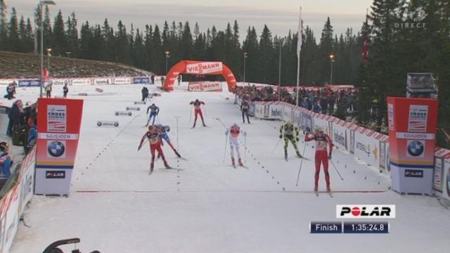 Ski nordique / Coupe du Monde à Sjusjön (NOR): l'arrivée au sprint entre 8 nations.
