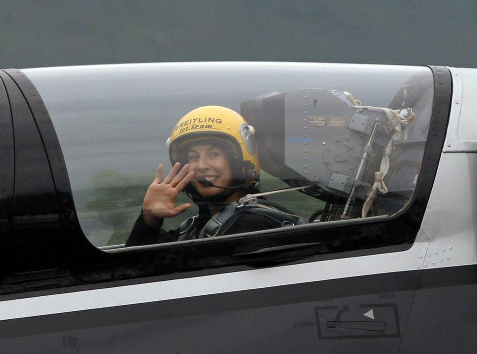 Grande passionnée d'aviation, Gisin est au bénéfice, depuis cet été, de sa licence de pilote. [Urs Flueeler - Keystone]
