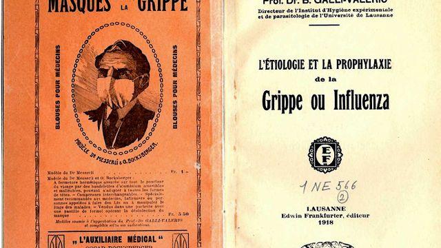Couverture d'un ouvrage publié en 1918 et dédié à l'étude et à la prévention de la maladie. La dernière page de couverture (à gauche) est une publicité pour des masques de protection contre la grippe.