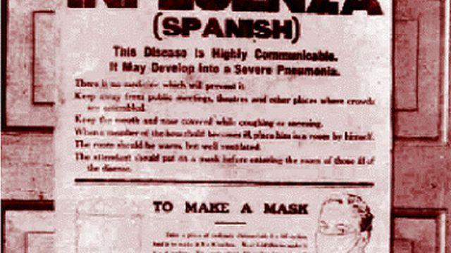 Affiche de prévention décrivant notamment le côté très contagieux et les dangers du virus. Elle explique également la manière de se confectionner un masque.