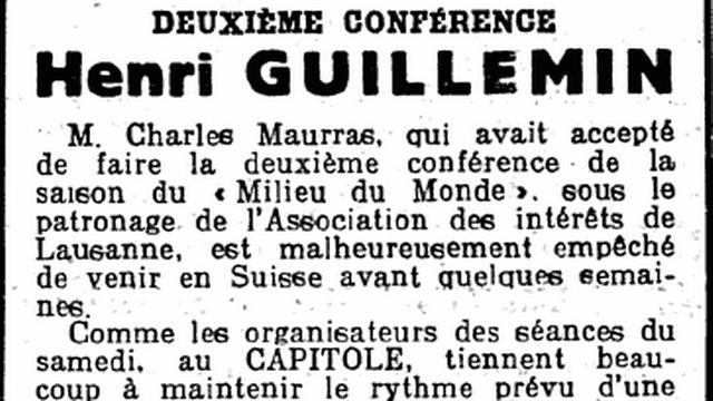 Annonce d'une conférence de Guillemin [Gazette de Lausanne, 5 octobre 1942]
