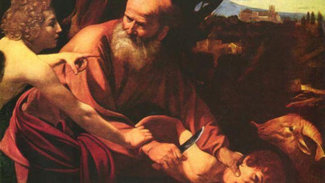 Abraham, arrêté in extremis alors qu'il s'apprête à sacrifier son fils.