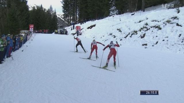 Ski de Fond / Tour de ski: l'arrivée du 5 + 5 km féminin.