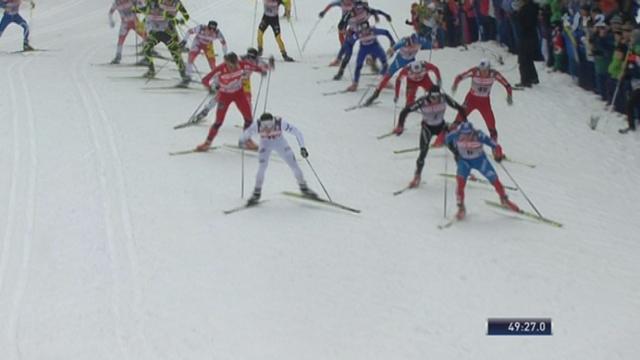 Ski de Fond / Tour de ski:l'arrivée au terme des 20 km. Northug devance Cologna au sprint