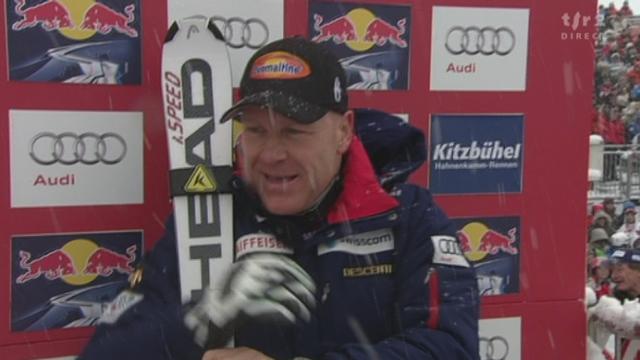 Ski alpin /descente de Kitzbühel: Didier Cuche (no 19) signe le meilleur chrono. L'Autrichien Klaus Kröll (20) échoue pour 0''30. Puis Romed Baumann (AUT) de 0''24. Didier Défago battu
