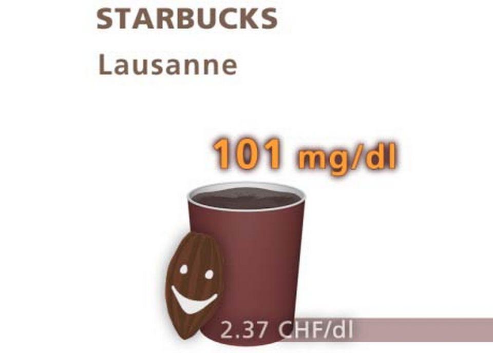 Chocolat de Starbucks à Lausanne. [Daniel Bron/RTS]