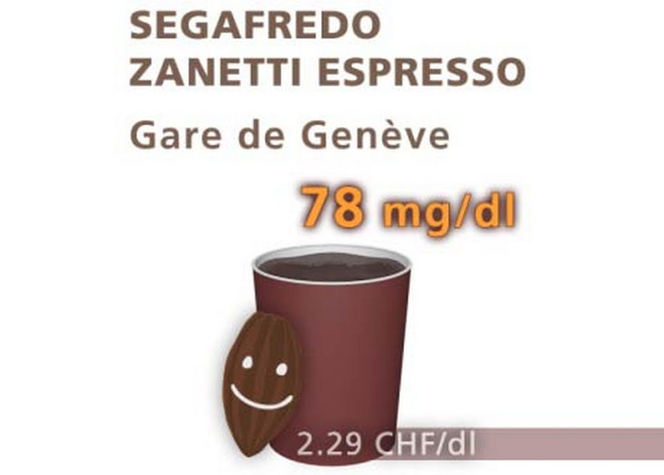 Chocolat Segafredo Zanetti Espresso, en gare de Genève. [Daniel Bron/RTS]