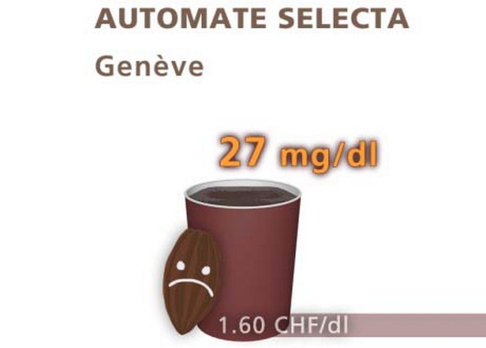 Chocolat d'un automate Sélecta, à Genève. [Daniel Bron/RTS]