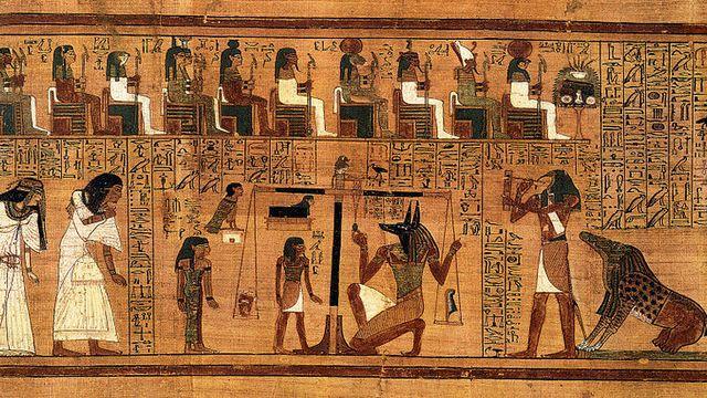 La pesée du cœur, extrait du Papyrus d'Ani (Livre des morts datant de -1200.) [wikipédia]