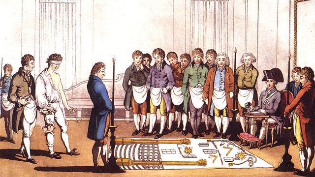 Freimaurer Initiation [Wikimedia, Liberal Freemason 1805]
