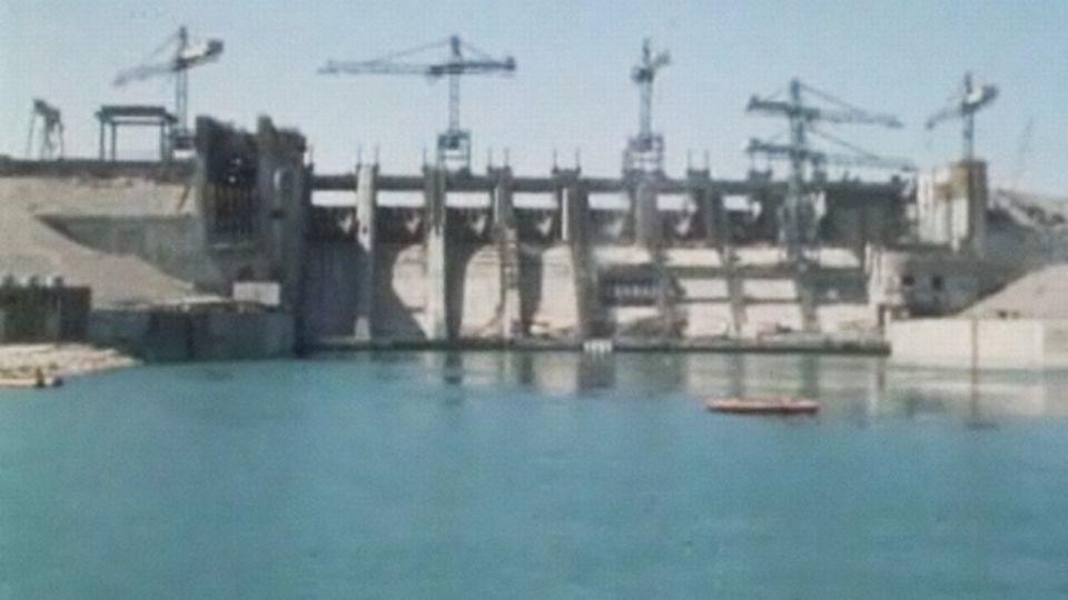 Barrage de Tapka sur l'Euphrate en Syrie.