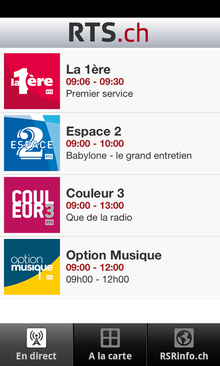 L'application RTSradio pour Android. [RTS]