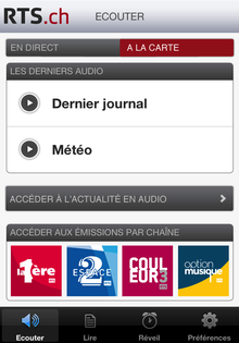 L'application RTSradio sous iPhone et iPod Touch. [RTS]