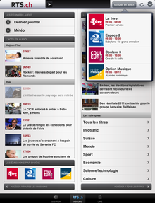 L'application RTSradio pour iPad. [RTS]