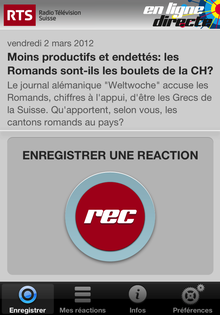 "L'application ""Ligne directe"" de la RTS. [RTS]"
