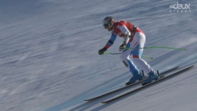 Kvitfjell (NOR): Jansrud (NOR) fixe la barre haut. Silvan Zurbriggen (SUI) s'y attaque