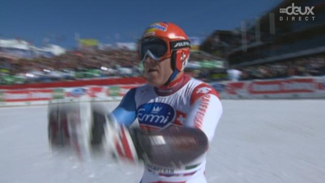 Coupe du monde. Schladming (AUT) : Dernière course pour Didier Cuche. Le suisse ne profite pas de la contre performance de Svindal et finit huitième