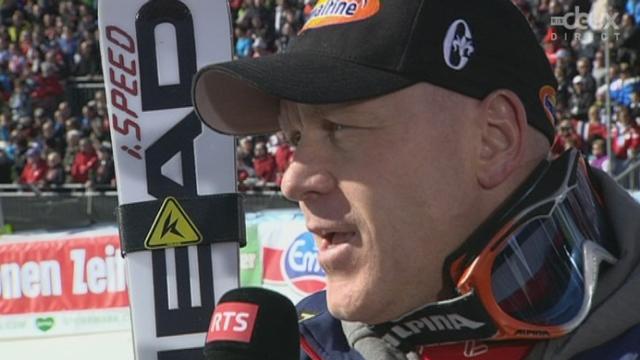 Coupe du monde. Schladming (AUT) : Emotion pour Didier Cuche après la dernière course de sa carrière.