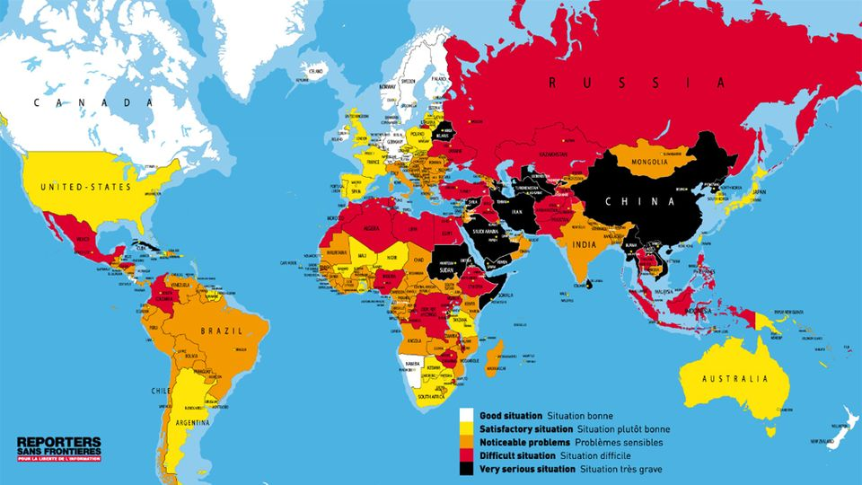 Carte de la liberté de la presse dans le monde en 2012. [RSF]
