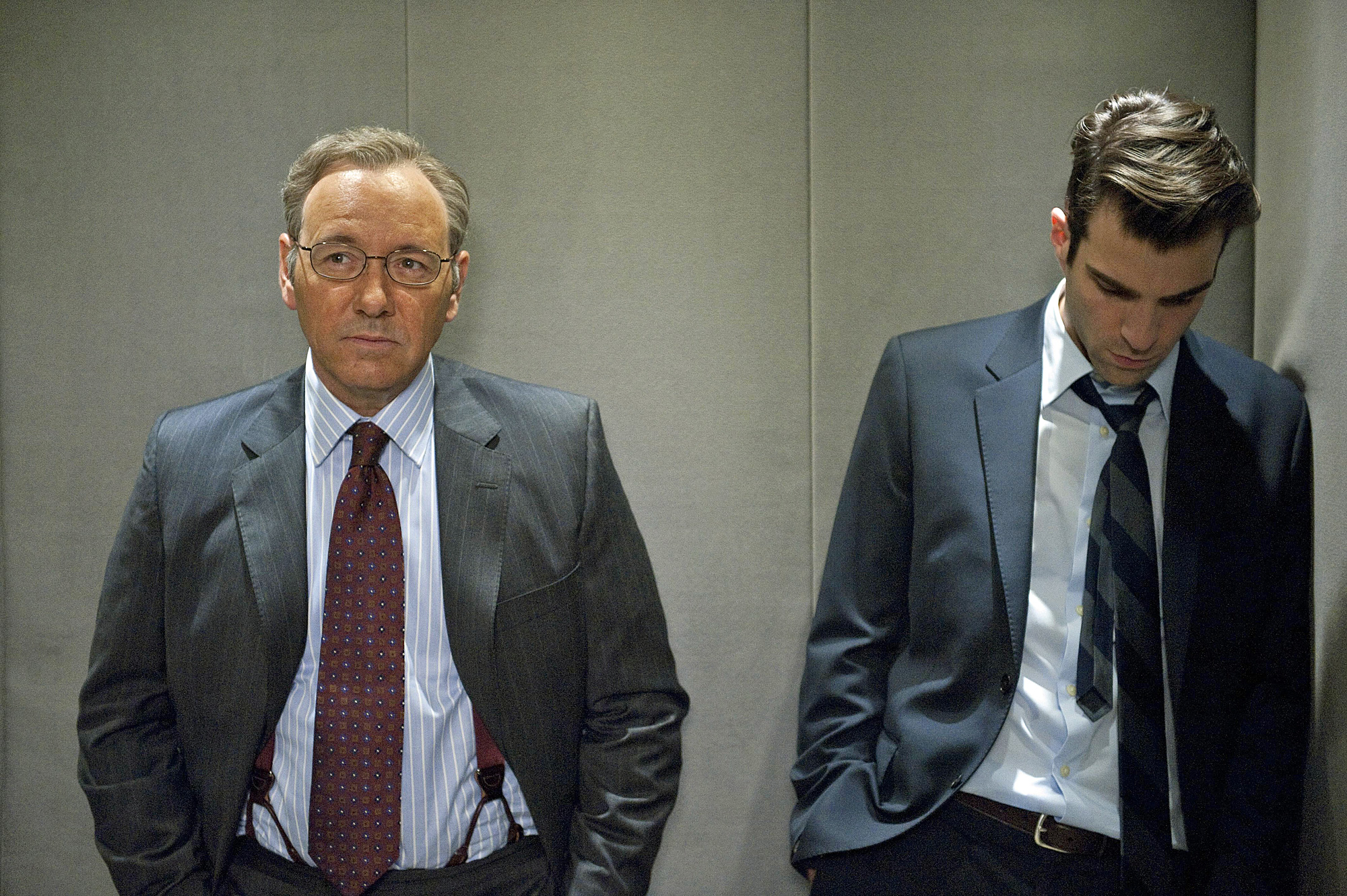 "Kevin Spacey et Zachary Quinto dans ""Margin Call""."