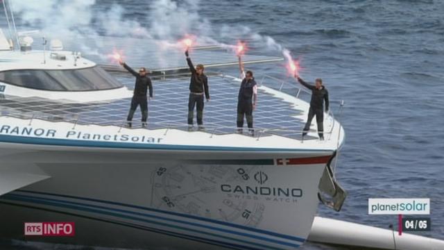 Le catamaran PlanetSolar a achevé vendredi à Monaco le premier tour du monde réalisé uniquement grâce à l'énergie solaire