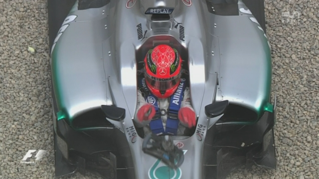 5e manche du championnat du monde. Accrochage entre Michael Schumacher et Bruno Senna