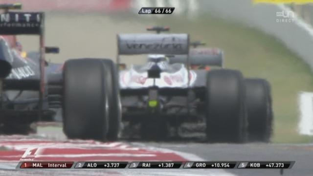 5e manche du championnat du monde. Dernier tour et arrivée: Pastor Maldonado s'impose devant Alonso et Räikkönen!