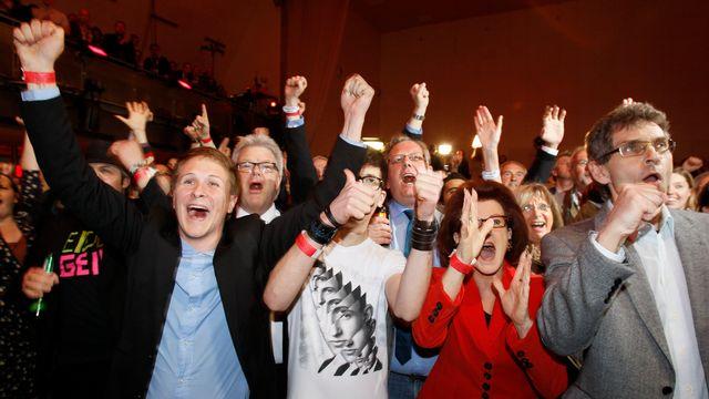 Le SPD exulte à l'annonce des sondages sortie des urnes. [Wolfgang Rattay - Reuters]
