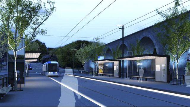 Image de synthèse de la future ligne, à la hauteur de Malley. [Architram, Architecture et Urbanisme SA]