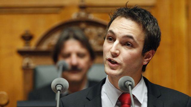 Le député socialiste valaisan Mathias Reynard, benjamin du Conseil national, lors de son discours d'ouverture de session.  [Ruben Sprich - Reuters]