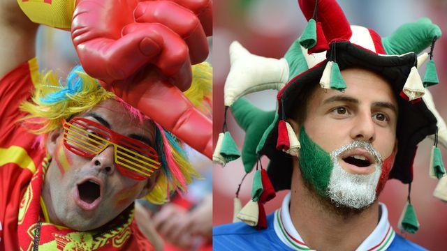 """Les fans: traditionnellement, les supporters italiens et espagnols ont """"le sang chaud"""" et l'ambiance risque d'être à son comble pour cette finale, tant autour du terrain que dans les villes hôtes, et même en Suisse, où les klaxons vont retentir dans les rues, quel que soit le résultat. [Photomontage - AFP/EPA]"""