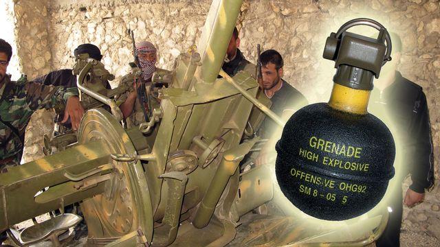 """Des grenades du type """"Offensive OHG92"""" auraient été retrouvées. [Photomontage - REUTERS]"""