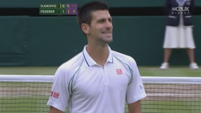 1/2, Federer - Djokovic. Ça se complique pour le Suisse. Djokovic revient à un set partout (6-3,3-6).