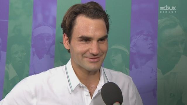 1/2, Federer - Djokovic. Découvrez l'interview d'après match! Federer heureux de son jeu et fier de se retrouver à nouveau en finale à Wimbledon.