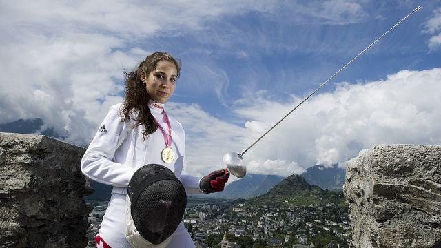 L'épéiste sédunoise disputera ses premières joutes olympiques. [Jean-Christophe Bott - Keystone]