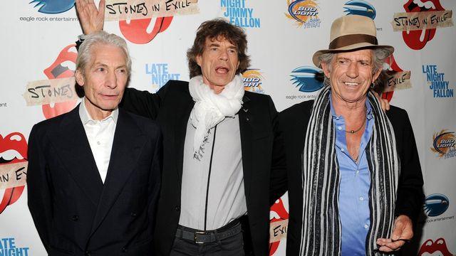"""En 2010, un nouveau documentaire fait la part belle au groupe: """"Stones In Exile"""". Charlie Watts, Mick Jagger and Keith Richards font le déplacement pour une projection spéciale. Manque à l'appel Ron Wood. Ce dernier a toutefois glissé récemment que le groupe allait probablement sortir un nouvel album à l'horizon 2013. [Keystone]"""
